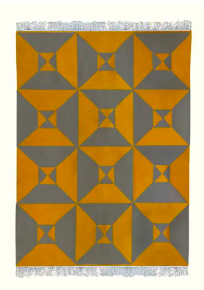 Grey Yellow Arrows Kilim Rug - Eskell