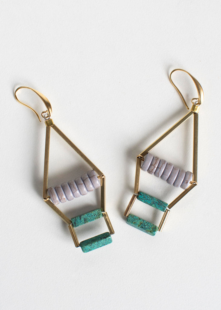 Beaded Tiered Triangle Earrings - Eskell