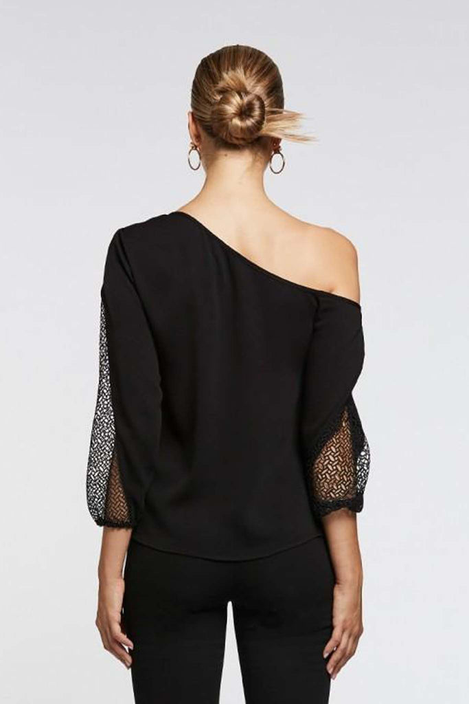 Le Fontaine Asymmetrical Lace Sleeve Top