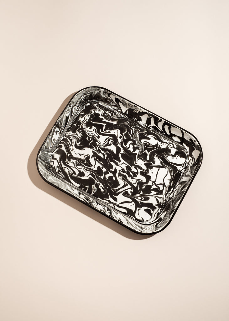 Black and White Swirl Large Enamel Tray