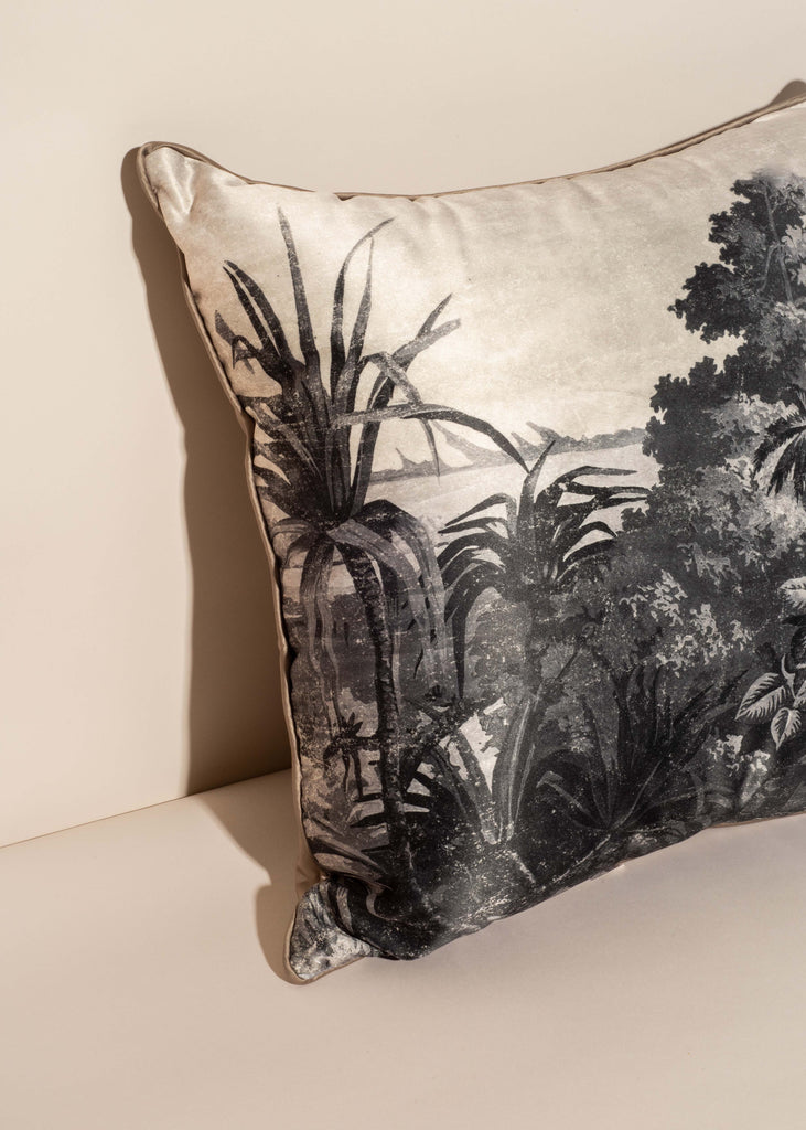 Black and White Tropical Landscape Pillow