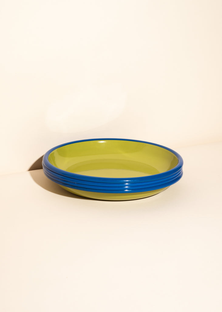 Chartreuse and Electric Blue Enamel Plate - Set of 2