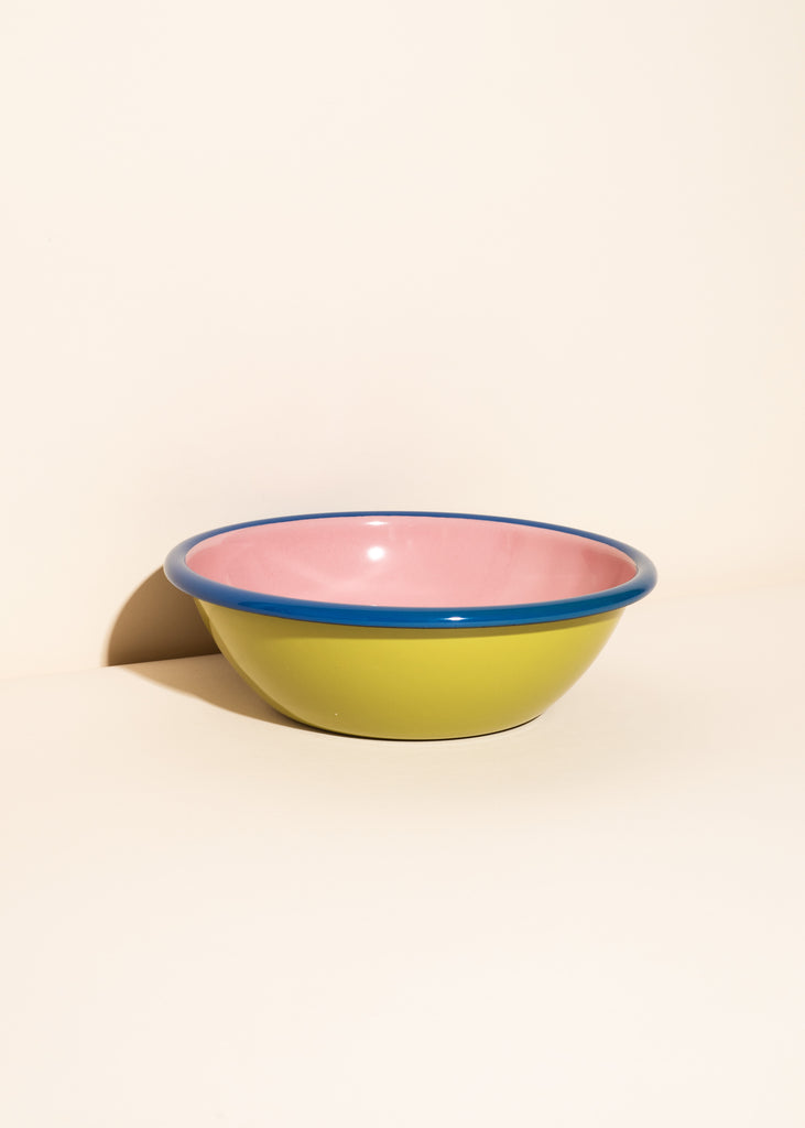 Chartreuse and Soft Pink Enamel Bowl - Set of 2