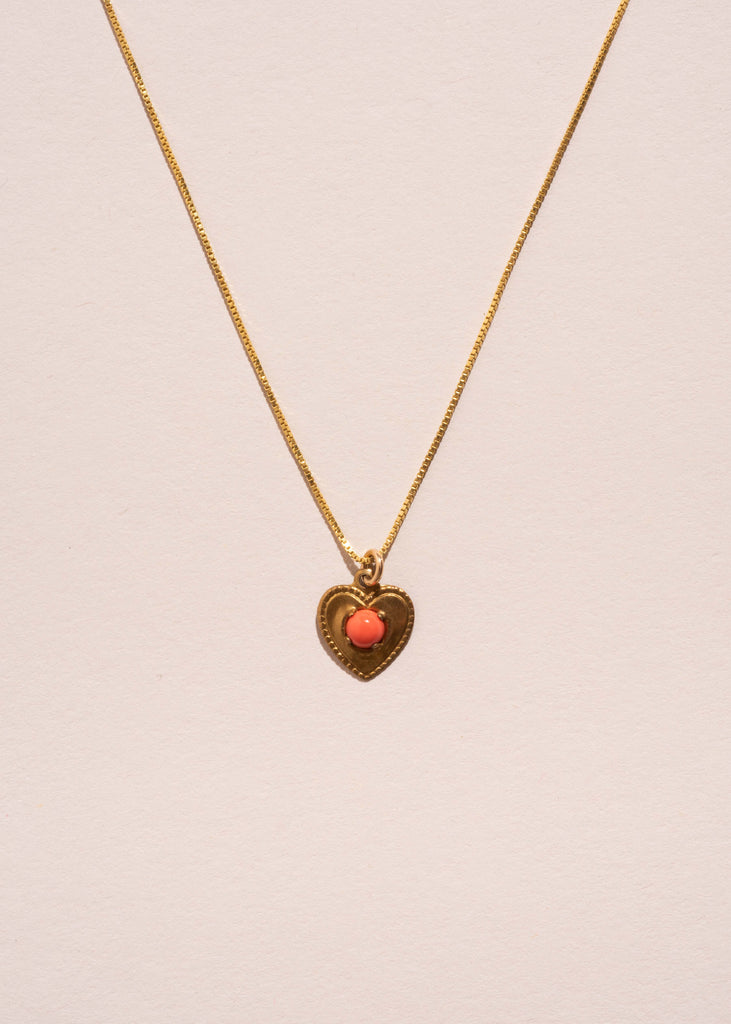 Coral Gemstone Heart Necklace