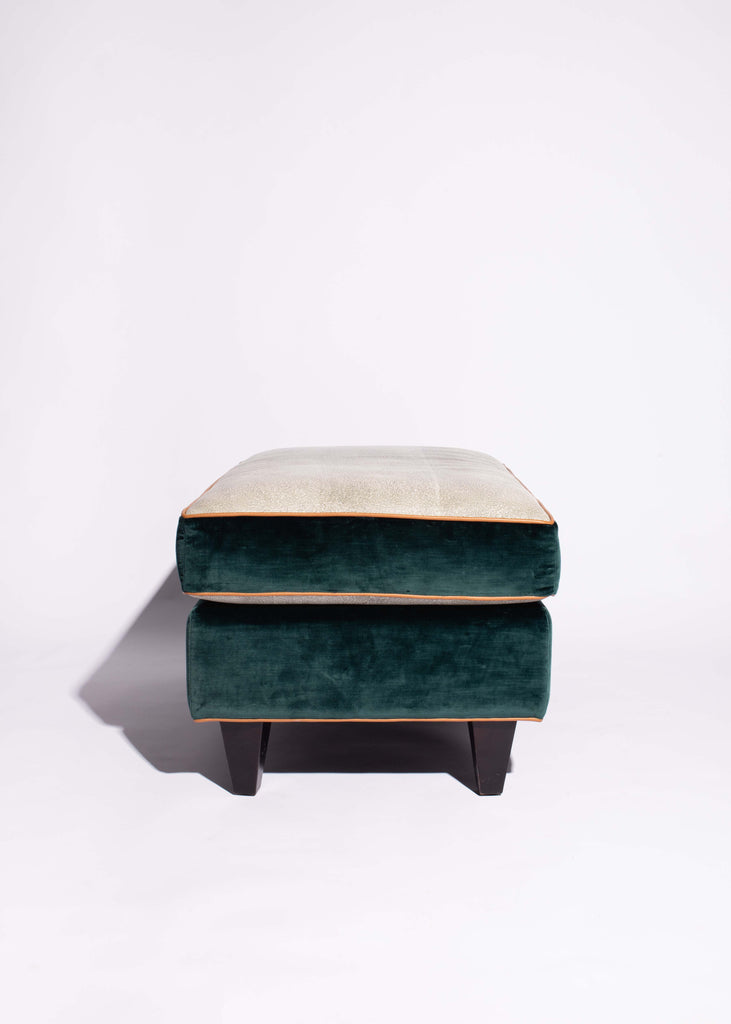 Suede and Leather Ottoman