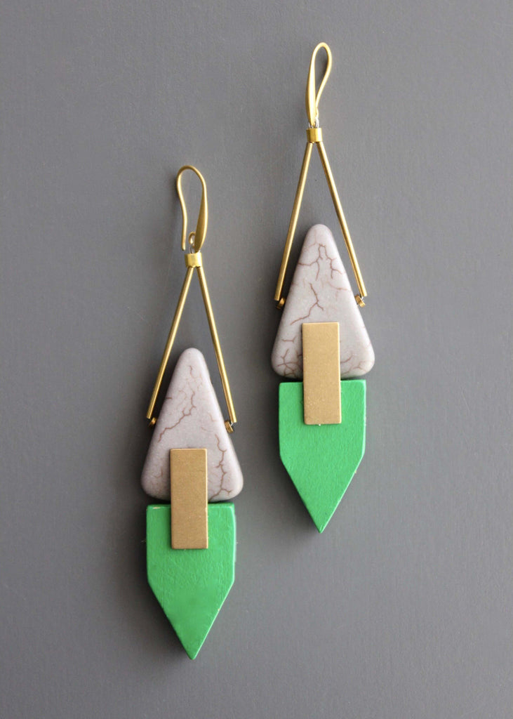 Green and Gold Geometric Drop Earrings