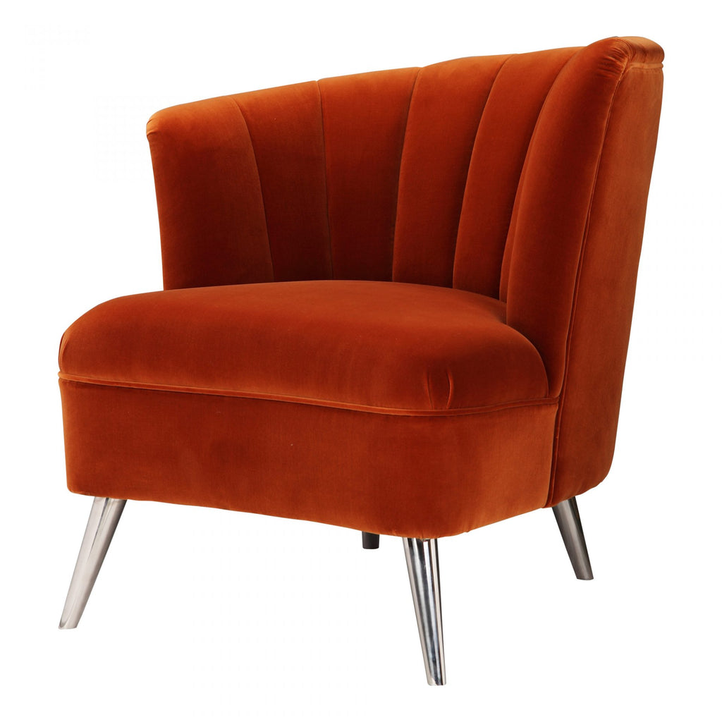 Layan Orange Velvet Accent Chair