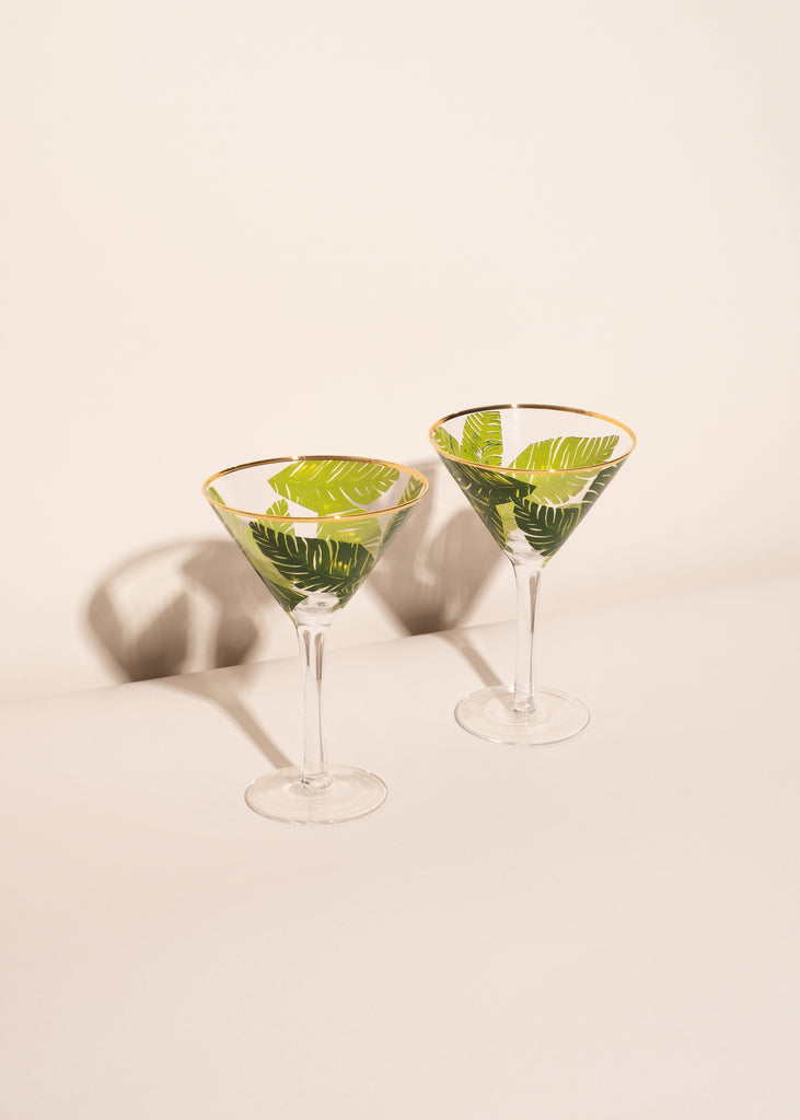 Palm Leaves Martini Glasses - Set of 2