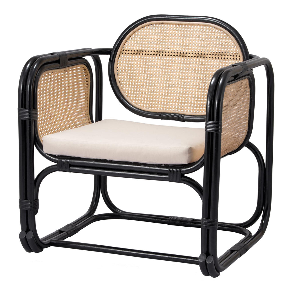 Black Rattan and Caned Accent Chair