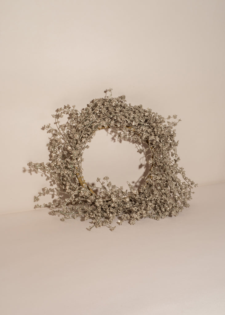 Faux Pine Wreath with Silver Glitter