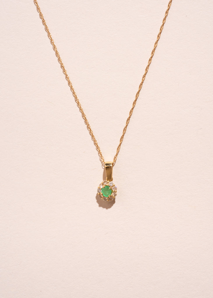 Vintage Emerald and Diamond Pendant Necklace