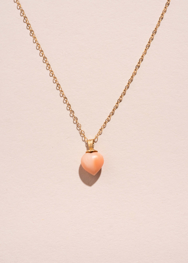 Vintage Coral Heart Pendant Necklace