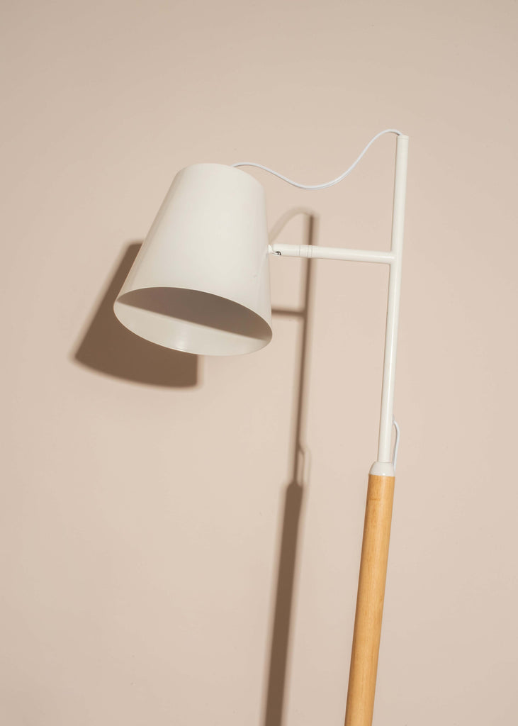 White and Wood Floor Lamp