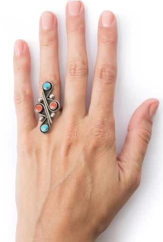 Vintage Coral and Turquoise Ring - Eskell