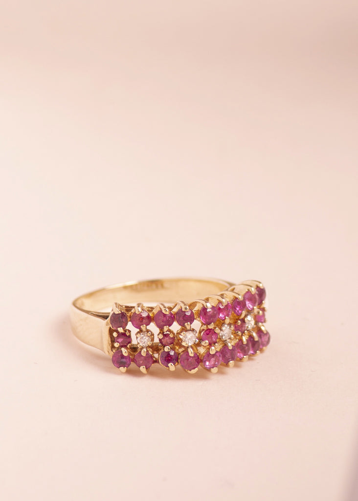 Vintage Ruby Cluster & Diamond Ring - Eskell
