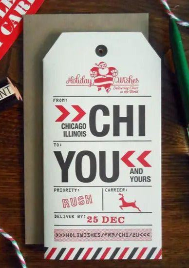 Chicago Luggage Tag Holiday Card