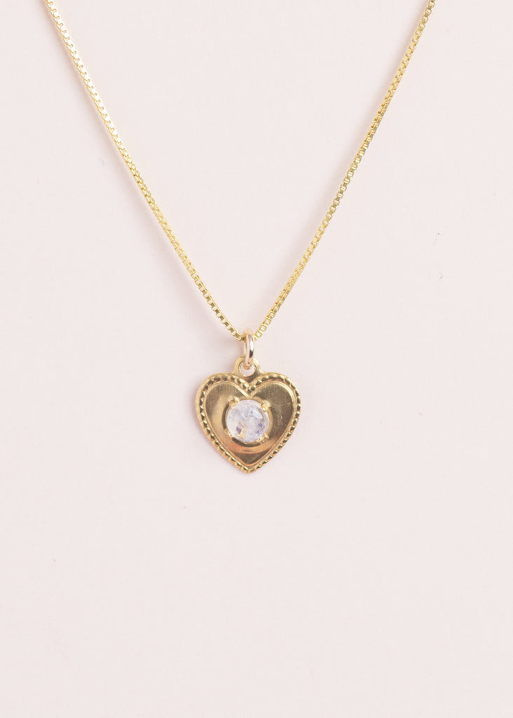 Moonstone Gemstone Heart Necklace - Eskell