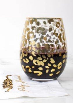 Gold Leopard Stemless Wine Glass - Set of 2