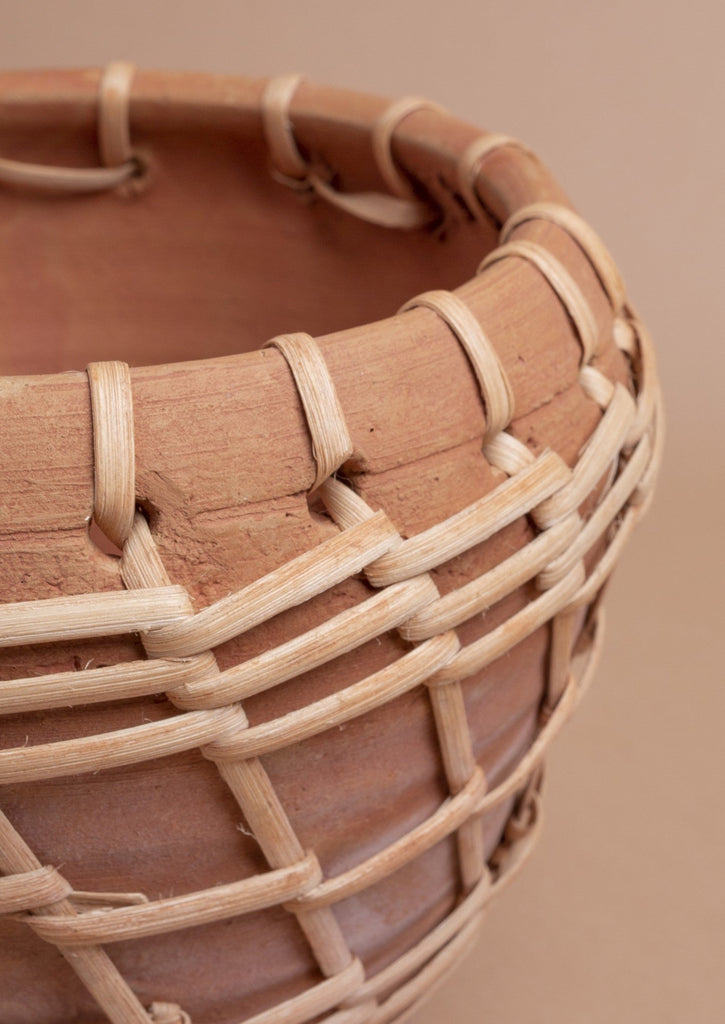 Woven Stripe Terracotta Pot