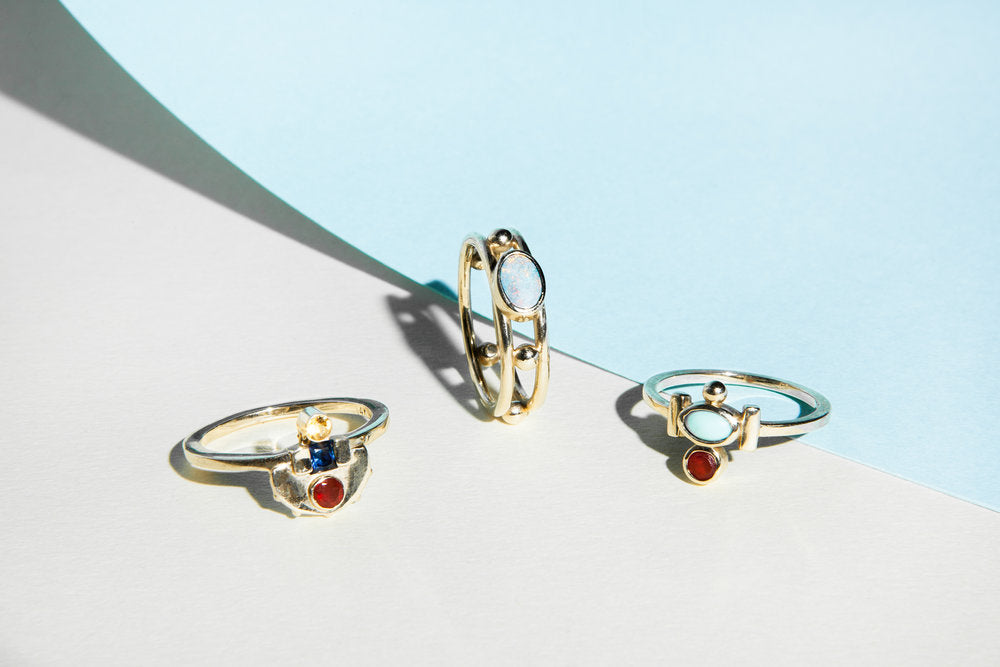 Elizabeth Fire Opal and Turquoise Ring