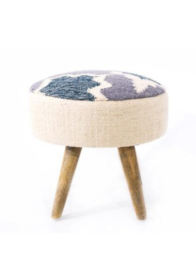 Hand-woven Indigo Wool and Wood Foot Stool