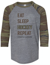 "Load image into Gallery viewer, Youth ""Warriors"" Eat-Sleep-Hockey-Repeat Long Sleeve Tee"