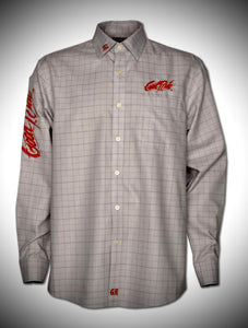 Men's Dove Gray Window Pane Show Shirt / Red GR
