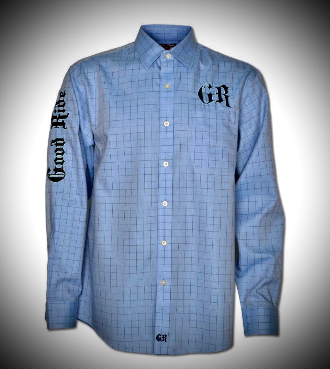 Men's Light Blue Window Pane Show Shirt / Black & Light Blue GR