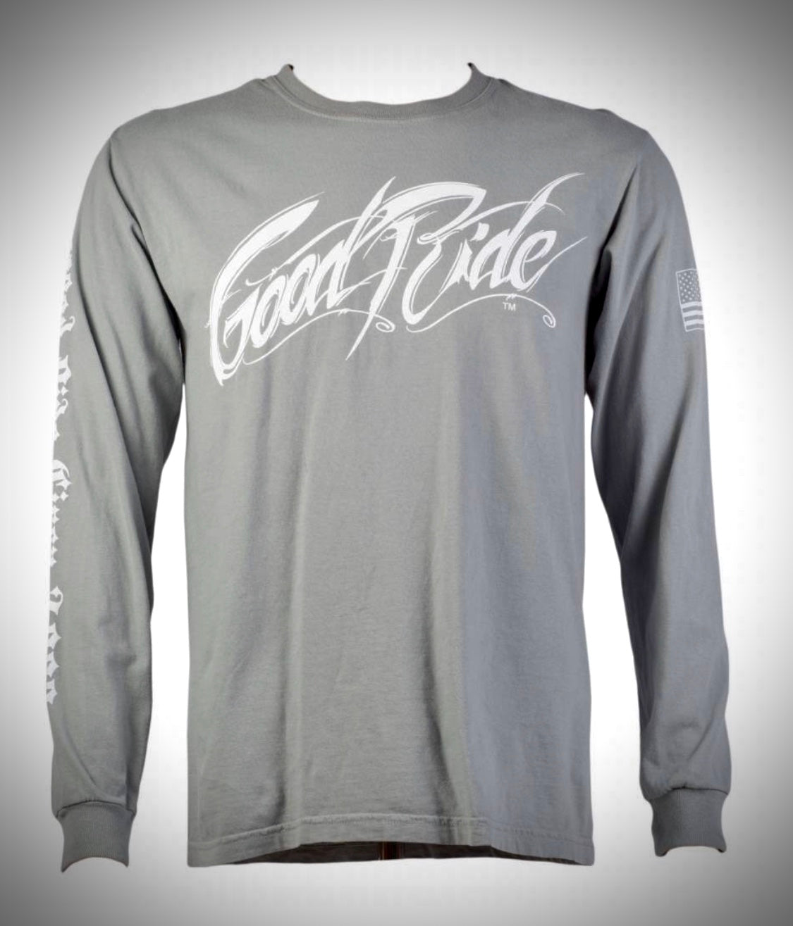 Men's/Women's Gray Long Sleeve Tee Shirt w/ White GR