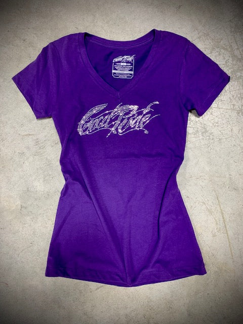 Women's Purple V-Neck Game Day Tee Shirt  w/Bling GR