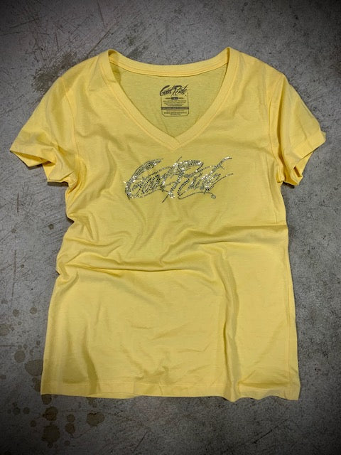 Women's Yellow Crystal V-Neck Tee Shirt w/GR