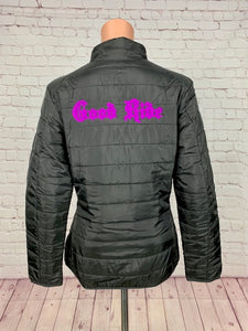 Women's Black/Purple Puffy Jacket