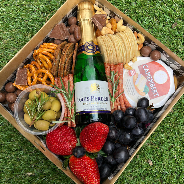 Champagne and deli grazing box