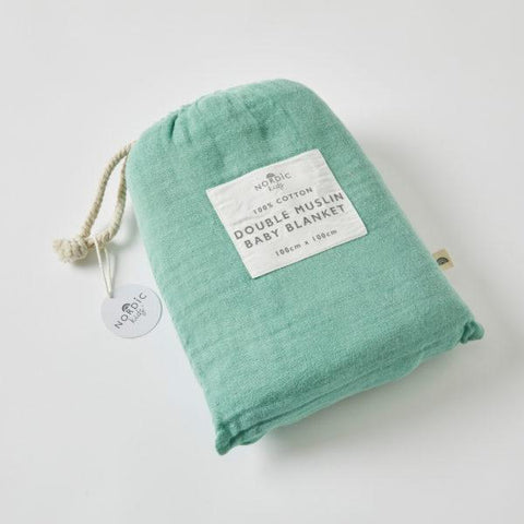Double Muslin Cotton Blanket - Forest Green