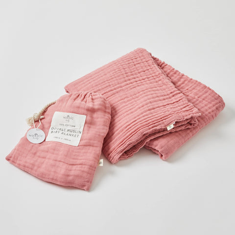 Dusty Rose Double Muslin Cotton Blanket