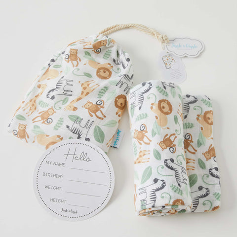 Safari Muslin Wrap & Arrival Card