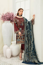 Load image into Gallery viewer, Maroon Luxury Chiffon by Ramsha Ladies Suit
