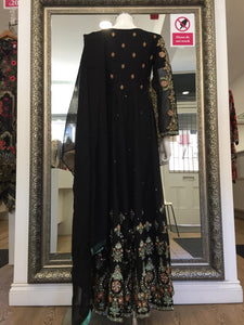 Black Chiffon Embroidered Ladies Long Frock