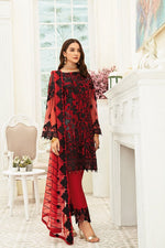 Load image into Gallery viewer, Red Luxury Chiffon by Ramsha Ladies Suit