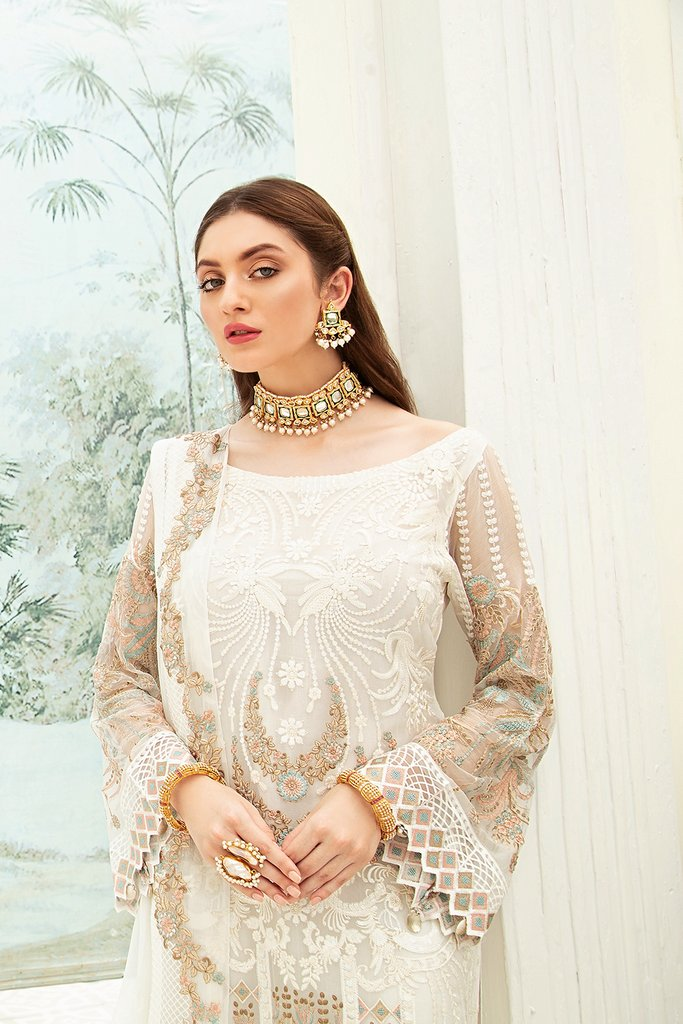 Off White Luxury Chiffon by Ramsha Ladies Suit