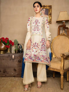 Cream Embroidered Lawn Ladies Suit