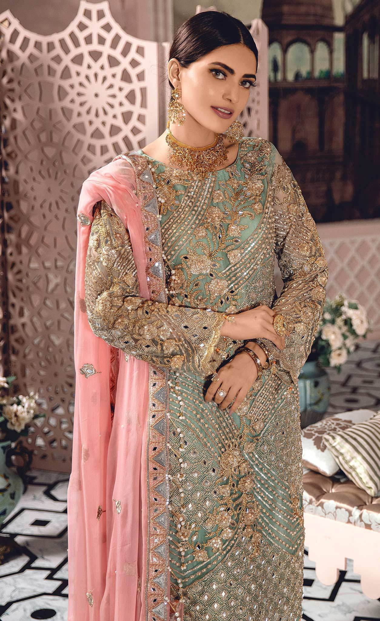 Mint Green Premium Chiffon Pearl and Stone Work Ladies Suit
