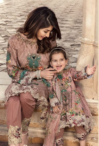 Dusty Pink IVANA Luxury Lawn Mother and Daughter Girls Suit