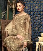 Load image into Gallery viewer, Brown Jacquard Embroidered Ladies Suit by Muskari