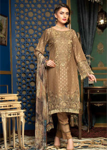 Brown Jacquard Embroidered Ladies Suit by Muskari