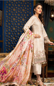 Beige Jacquard Embroidered Ladies Suit by Muskari