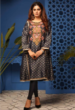 Load image into Gallery viewer, Navy Blue Jacquard Designer Kurti Frock