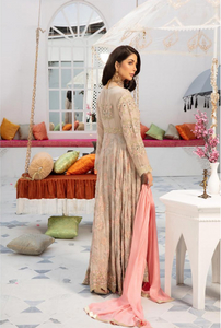 Beige Embroidered IVANA Luxury Chiffon Ladies Frock