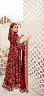 Load image into Gallery viewer, Maroon Embroidered IVANA Luxury Chiffon Ladies Suit