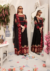 Black Embroidered IVANA Luxury Chiffon Ladies Suit